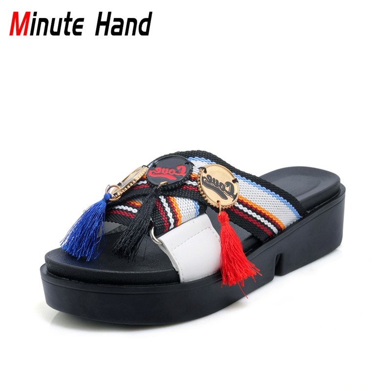 Minute Hand 2018 New Fashion Summer Beach Slipper Platform Women Fringe Punk Shoes Street Style Comfortable Slides Big Size30-44