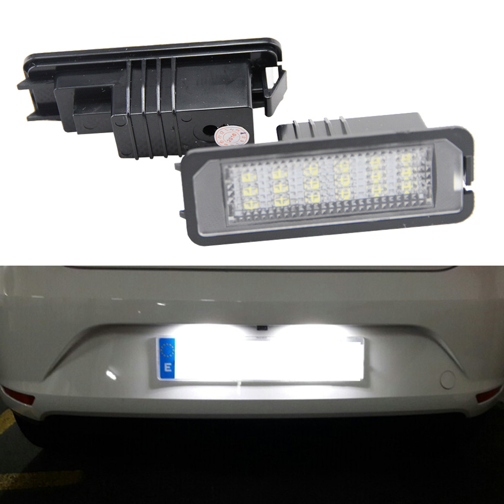 2X24SMD LED License Plate Light For VW Golf 6 VI 5 V GTI MK4 MK5 MK6 Eos Lupo Scirocco Seat Leon Altea OEM Replacement Bulb car for porsche smd3528 number led license plate lights for vw golf gti 5 6 passat scirocco phaeton new beetle cc c 5