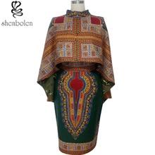 2016 summer african dresses for women Ankara wax batik printing pure cotton fashion cloak Dress plus size