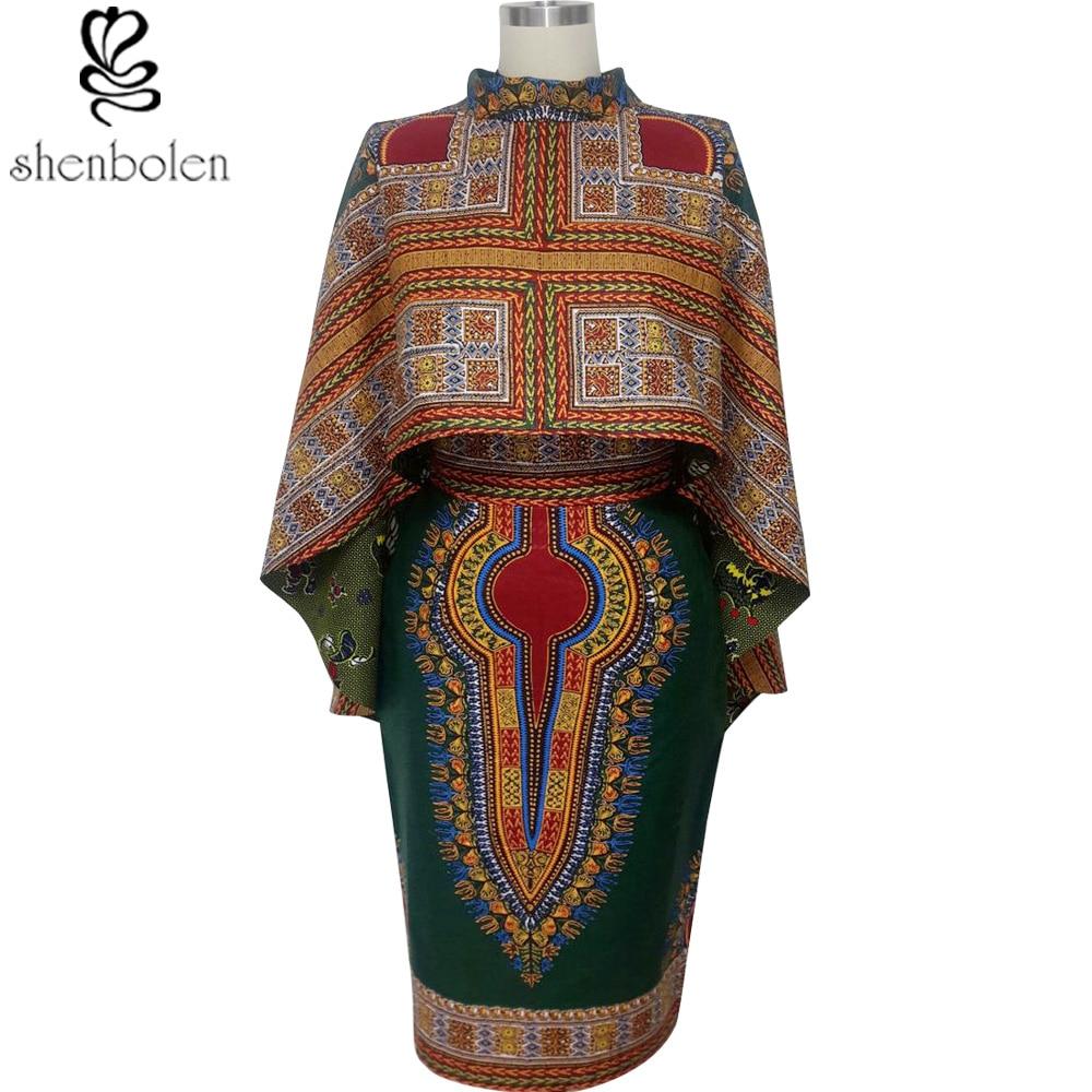 Shenbolen 2018 африканские платья для женщин хлопок воск батиковая набивка чисто D Модные платье-плащ Большие размеры