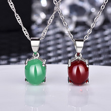Fashion Jewelry Green Chalcedony Pendant Necklace For Women Female Ethical Wind Contracted Fashionable