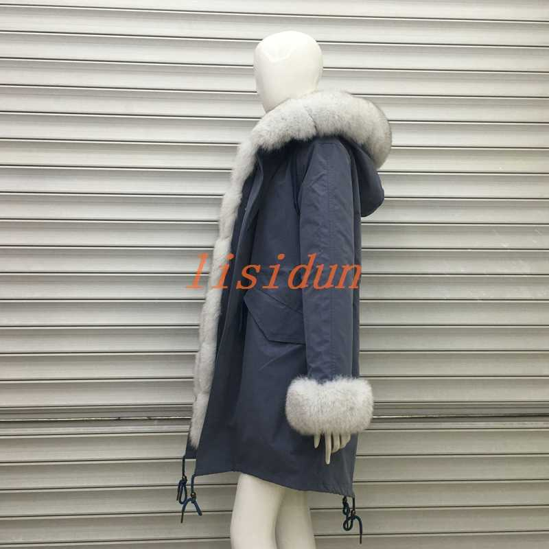 2018 шуба из лисьего меха, пальто, платье, женская одежда, длинная меховая подкладка, Паркер и выдра из меха кролика, новая шуба