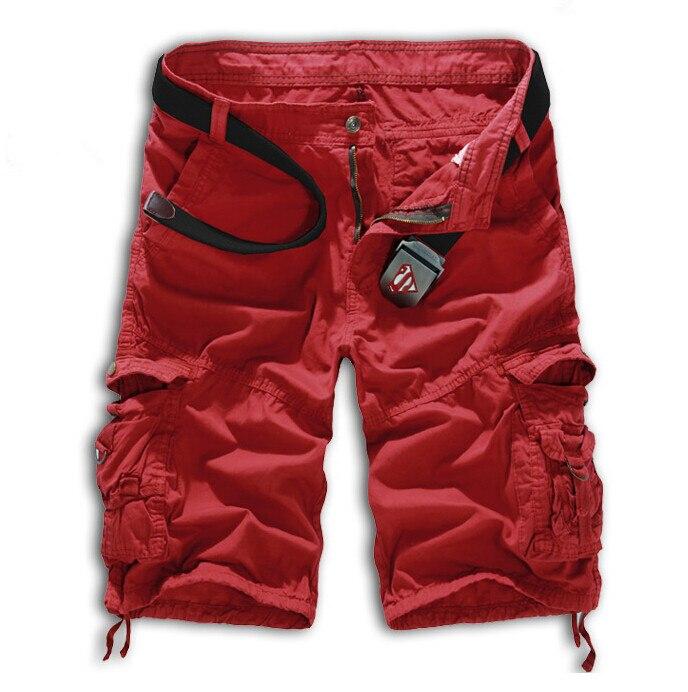 Мужские хлопковые шорты, новинка, мужские модные камуфляжные шорты Карго размера плюс, повседневные камуфляжные шорты с несколькими карманами в стиле милитари - Цвет: Wine red