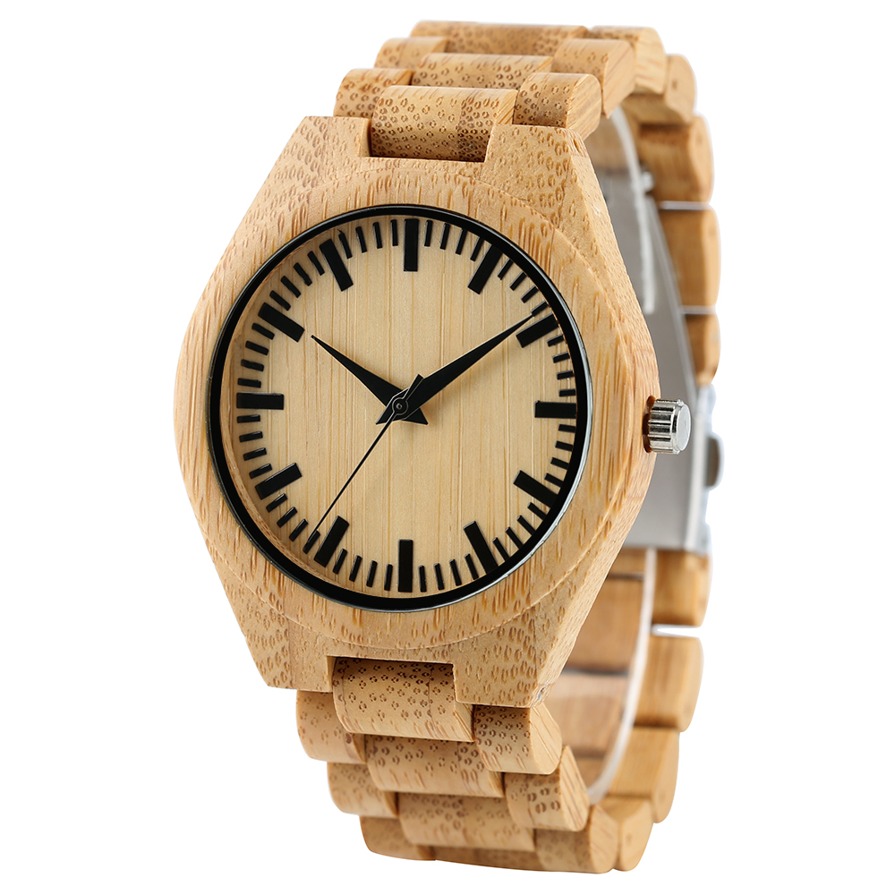 Trendy Luxury Casual Mens Nature Wooden Modern Bamboo Watches Simple Analog Quartz Wristwatch Fold Clasp Full Wood Bangle Gift