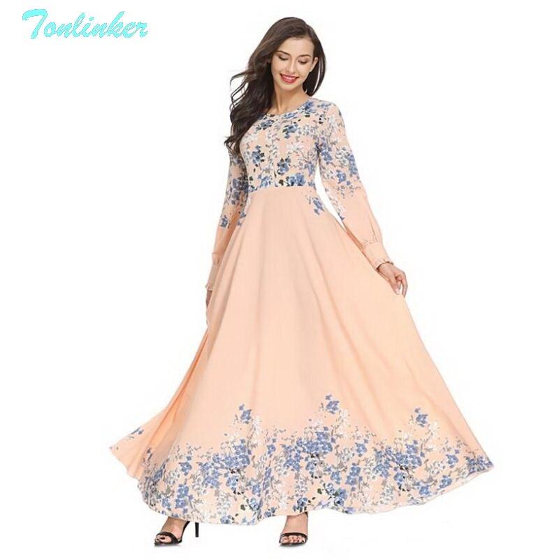 e451f79f59f Tonlinker 2018 New Women Muslim Abaya Arab Turkish Dubai Muslims Streetwear Dresses  Islamic dress Print clan Style Size M 2XL-in Dresses from Women s ...