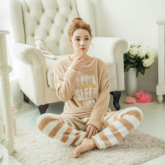 9efeeeda4f53 placeholder winter white and letters pajamas cute girls warm sleepwear  women flannel coral cashmere O collar long