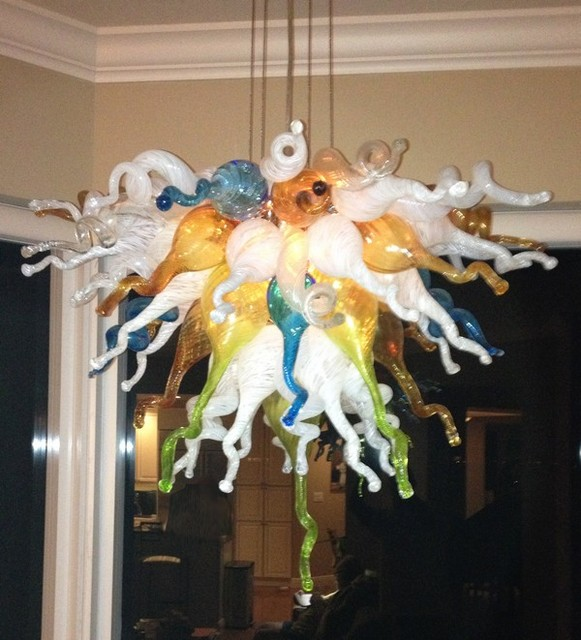 Glass Material And Downlight Multi Colored Chandelier