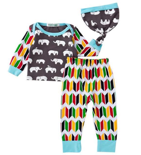 1a4d010ed 4set/slot Toddler girls clothing sets long sleeve elephant (t shirt+pants+ caps) boys kids set 1103 sylvia 540676416412
