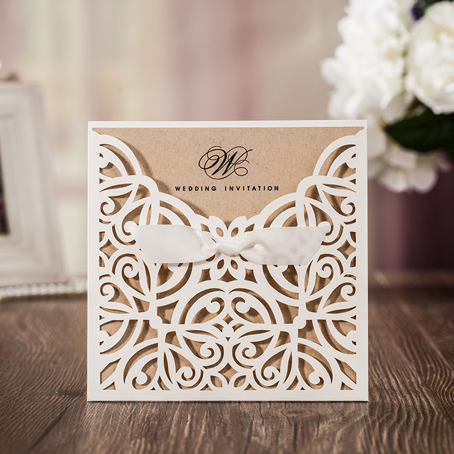 White Square Laser Cut Flower With Bowknot Lace Pocket Engagement Wedding  Invitations Card,100 Pcs