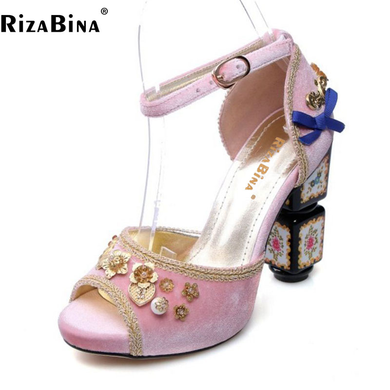 RizaBina Size 34-43 Women Genuine Leather High Heel Sandals Peep Toe Ankle Strap Thick Heel Sandal Women Party Club Summer Shoes genuine leather chunky heel gladiator ankle wrap women summer sandals 2015 new lady fashion peep toe shoes size 34 39 sxq0921