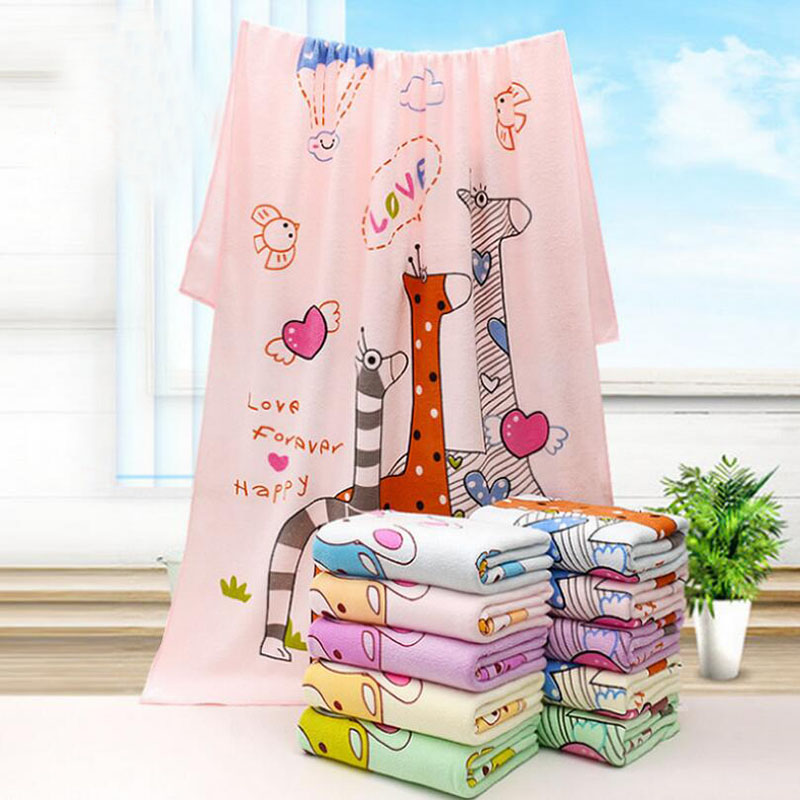 70*140cm Baby Bath Towel Cartoon Printed Children Kid Beach Towel  Ultra Fine Fibre Infant Sleeping Blankets Bathroom Accessories Part 75
