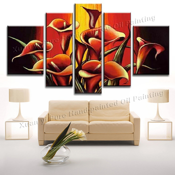 Handmade Abstract Oil painting Red Calla Lily Flower Canvas Painting 5 Panel Wall Art Home Decoration Free Shipping