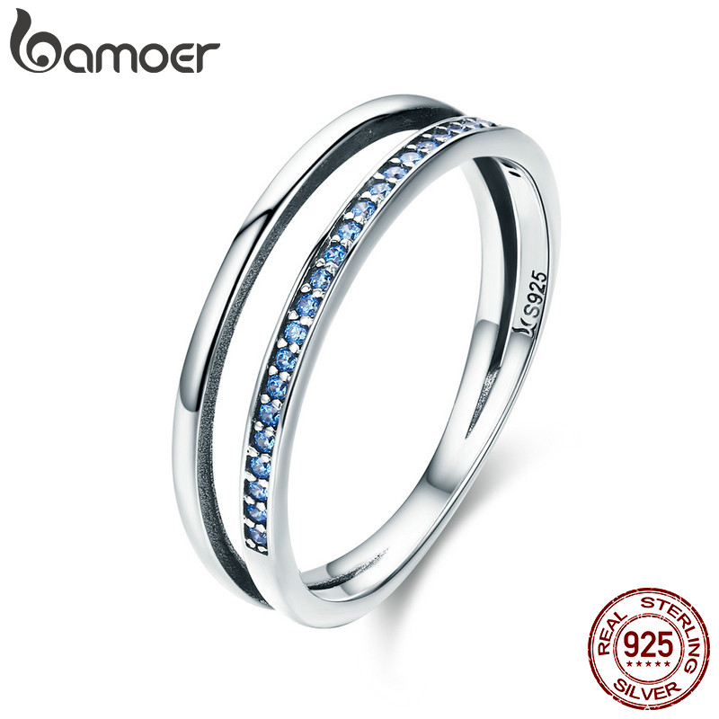 BAMOER Hot Sale 100% 925 Sterling Silver Stackable Blue CZ Double Circle Layers Ring for Women Authentic Silver Jewelry SCR293 цена и фото