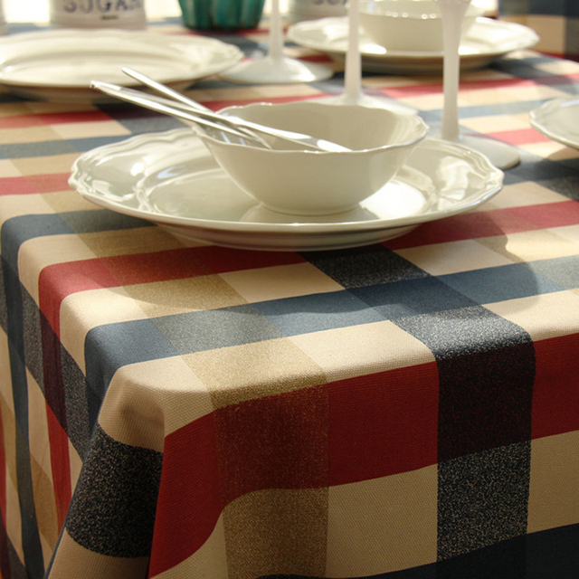 European classical tablecloth edinburgh checked plaid printed cotton table cloth for coffee tea home kitchen party