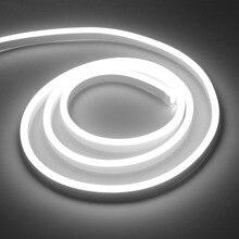 Luz de néon tira conduzida 220v corda de fadas flexível smd2835 120leds/m decoração do feriado ao ar livre lâmpada de néon com plugue da ue fonte de alimentação