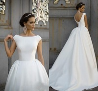 robe de mariee 2019 Vintage Boat Neck Satin Dress For Wedding Party Backless Button A line Princess Bridal Gowns Train vestidos