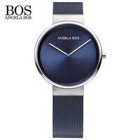 ANGELA BOS Thin Simple Europe Design Sapphire Glass Quartz Watch Women Weave Stainless Steel Ladies Watches