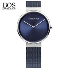 ANGELA BOS Thin Simple Europe Design Sapphire Glass Quartz Watch Women Weave Stainless Steel Ladies Watches