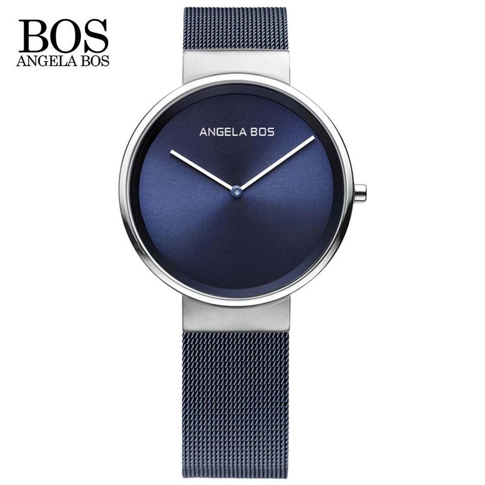 ANGELA BOS Thin Simple Europe Design Sapphire Glass Quartz font b Watch b font font b