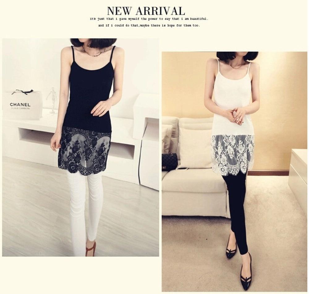 Wholesale lace shirt extender - Women Extender Long Tank Slip Top Dress Extender Lace Trim Layer Lace Dress China