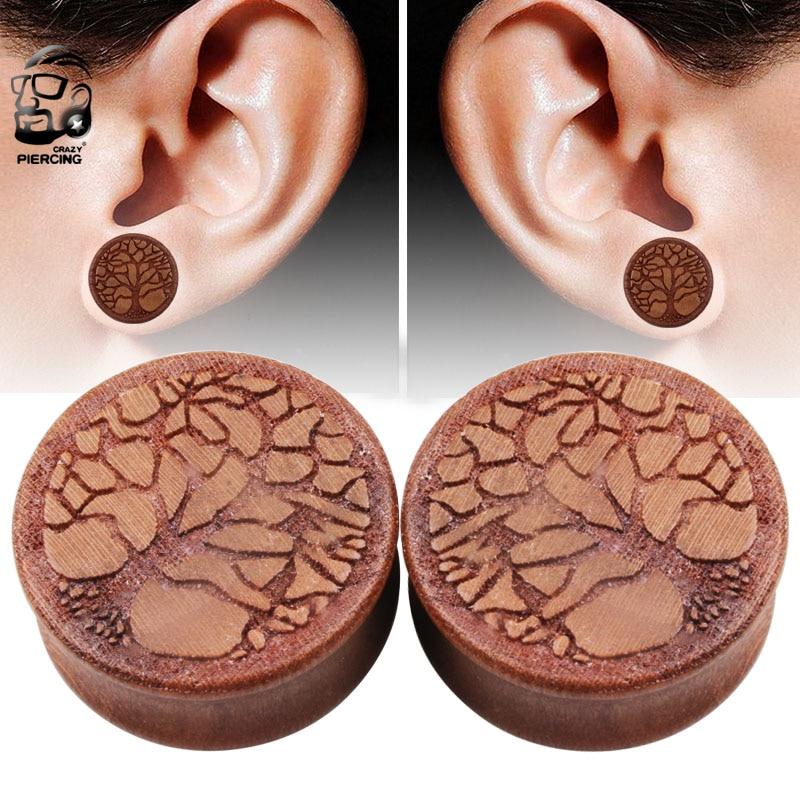 US $2 4 10% OFF|Body Piercing Jewelry Organic Wood Tree of Life Fashion Ear  Saddle Plug Earring Tunnels Ear plugs 10 25mm-in Body Jewelry from Jewelry