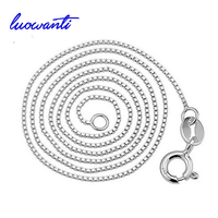 S925 Sterling Silver Chain Necklace Box Chain Real Sterling Silver Necklace For 16 18 Inches