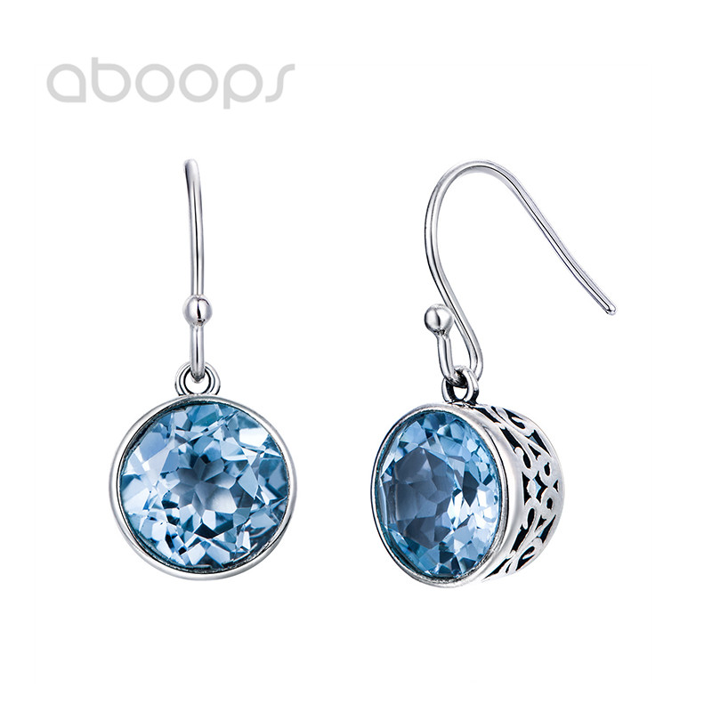925 Sterling Silver Hollow Dangle Earrings with Natural Round Blue Stones for Women Girls Free Shipping толстовка wearcraft premium унисекс printio слендер