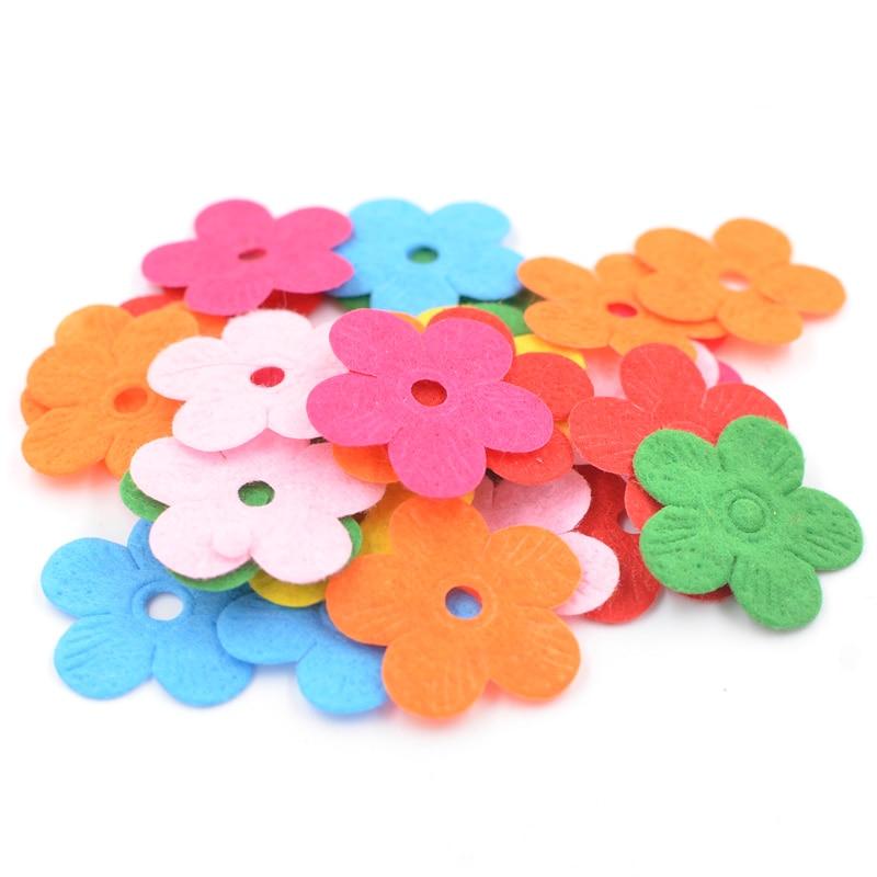100pcs Felt Appliques Craft Flower Shape Decorative Scrapbooking 20-33mm