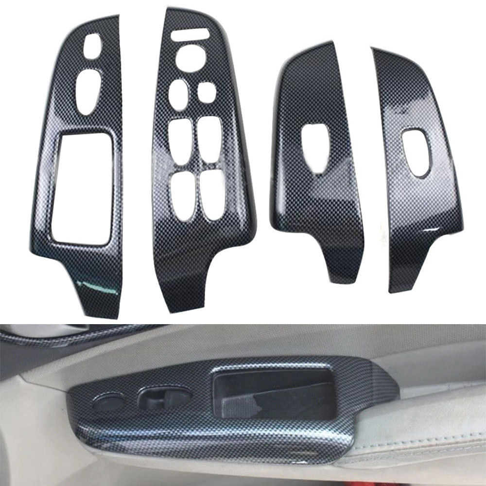 4pcs/set Carbon Fiber Color Door Window Lift Buttons Cover Trim For Honda Civic 2006-2011 (4dr Sedan) Car Styling Accessories car carbon fiber color abs interior mouldings inner gear shift covers panel trim decal for honda civic 2006 2011 mt car styling