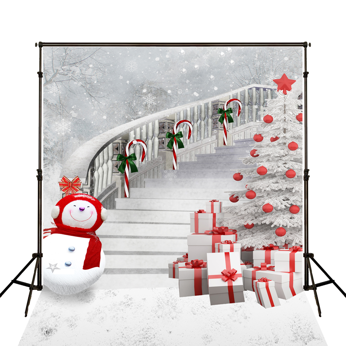 Kate Merry Christmas Backdrop Photography Red Scarf Snow Man Gift Box Fundo Fotografia Backgrounds For Photo Studio J02130 300cm 200cm about 10ft 6 5ft fundo butterflies fluttering woods3d baby photography backdrop background lk 2024