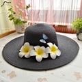Summer New Cute three Plumerias Women's Flower frangipane Sun Hats Casual Beach Straw Hats for lady girls women