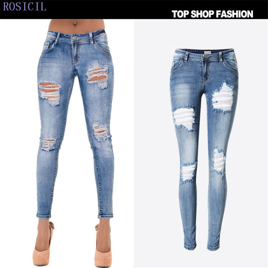 ROSICIL Jeans Fashion Slim Stretch Low Waist Skinny Jeans Female Scratch Worn Feet Vintage Black Blue Pencil Pants Women TOP112# rosicil women vintage low waist jeans pencil stretch denim pants female slim skinny trousers for woman womens plus size