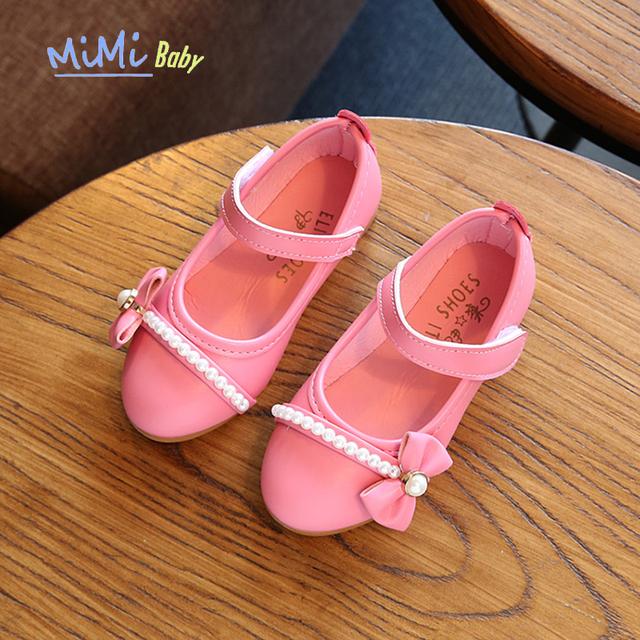 Shoes para meninas genuína sapatos de couro das crianças 2017 crianças vestido da menina calçado de couro crianças primavera outono arco pérola princesa shoes