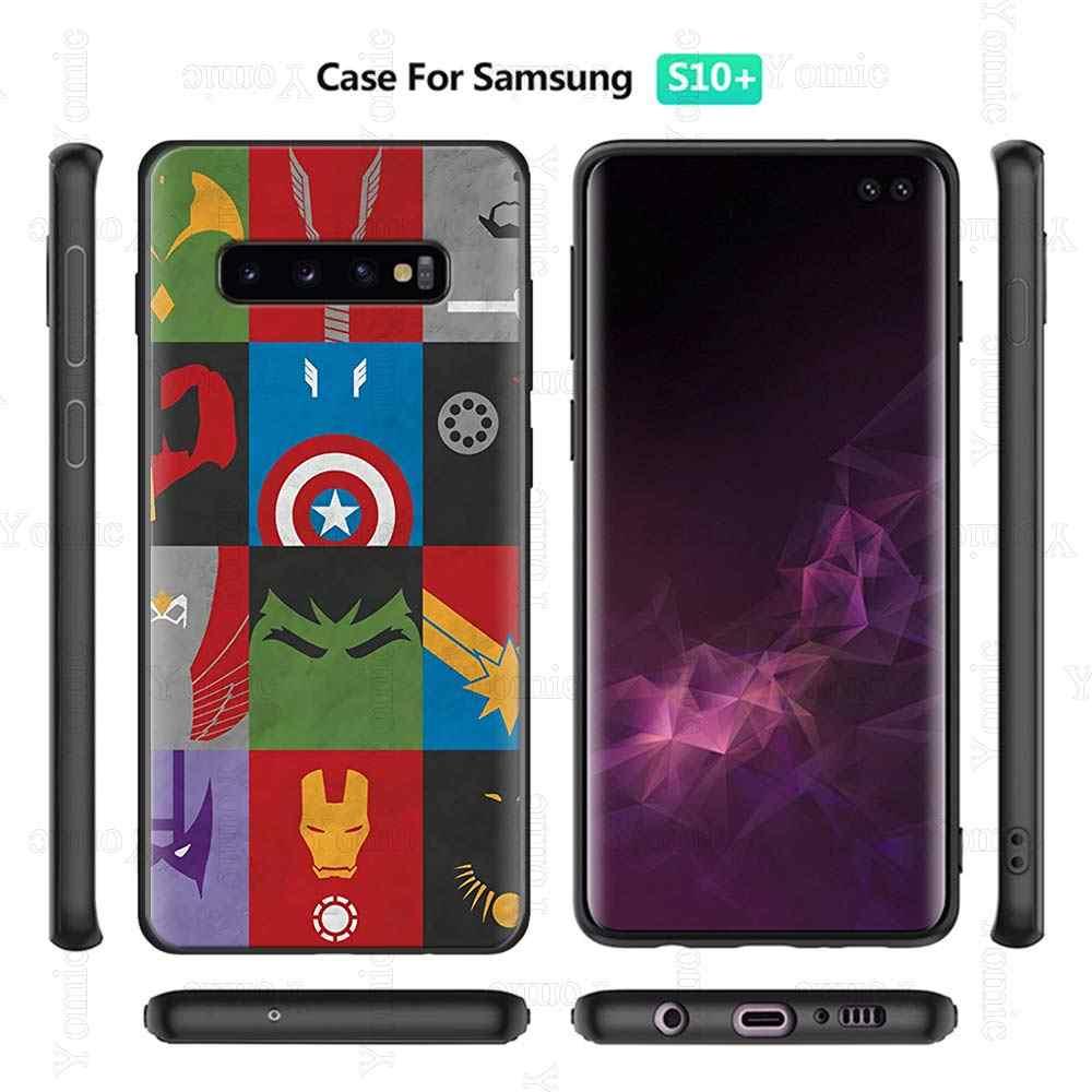Deadpool homem de ferro marvel avengers preto silicone macio caso para samsung galaxy s20 s10e s10 s9 mais nota 8 9 10 a40 a50 a70 capa