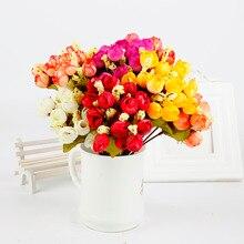 15 cabezas peonía DIY decoración de fiesta flores artificiales de seda clásica pequeñas rosas flores sintéticas para boda suministros festivos decoración del hogar
