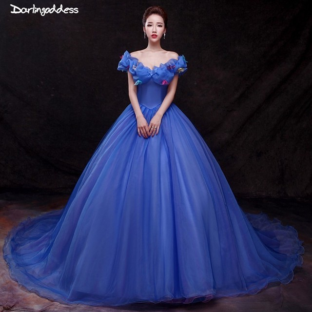 6092fa6453733 Luxury Princess Wedding Dresses 2018 Cap Sleeve Ball Gown Wedding Dress  Plus Size Butterfly Royal Blue