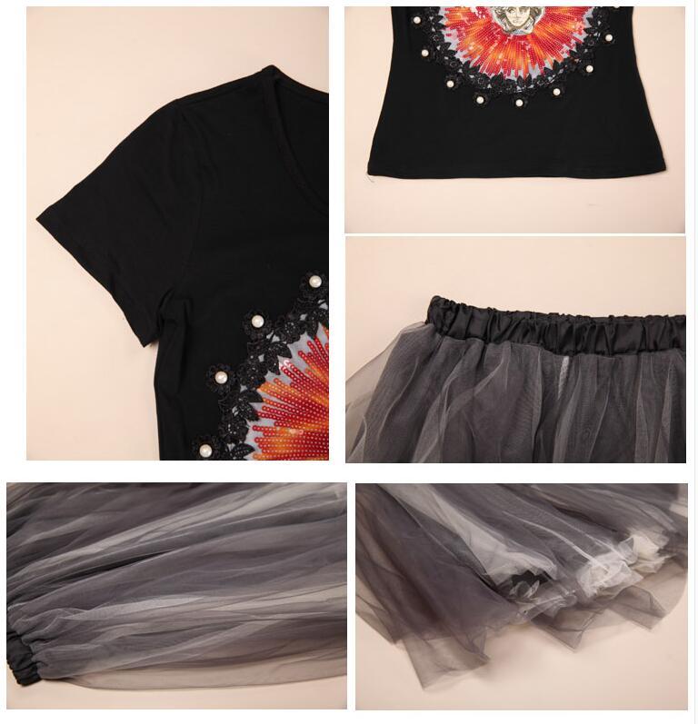 2016 New Knit Cotton Short-Sleeve Women Skirt Suits Sunflower Beads Embroidered Crochet Shirt Mesh Tulle Skirt Womens 2pcs Set