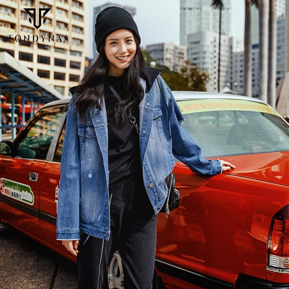 Trou Streetwear À Turn Vestes Manches 1651036 Solide Col Femelle Jeans down Femmes Longues nYWgxRZWB
