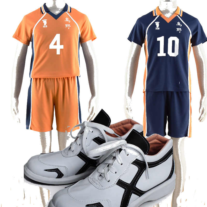 Haikyuu! Valleyball Jersey NO 10 Haikyuu Syouyou Hinata Karasuno No 4 Cosplay Costume Cos Sepatu Aksesoris