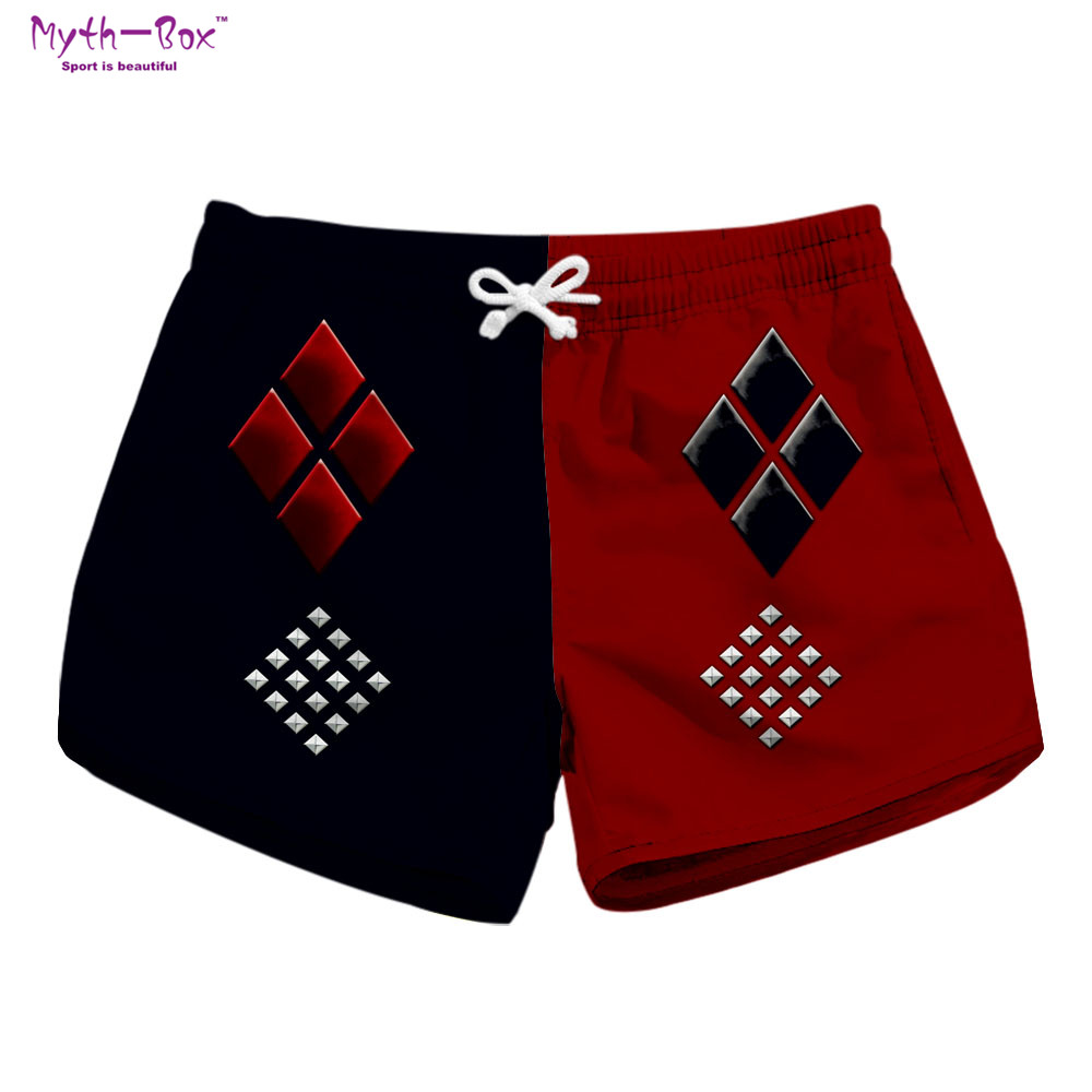 Summer Women Beach   Shorts   Drawstring Pants Super Hero Print Patchwork Surf   Board     Shorts   High Quality Pocket Travel Surf Swimwear