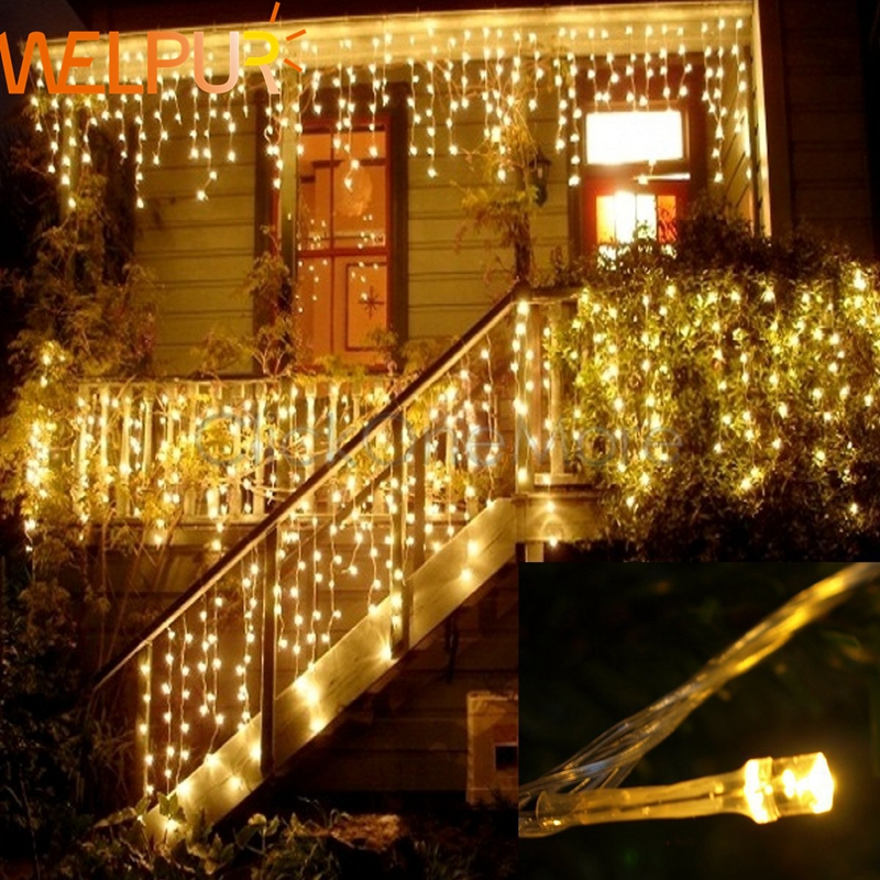 Christmas Garland LED Curtain Icicle String Light 220V 4m 100Leds Indoor Drop LED Party Garden Stage Outdoor Decorative Light