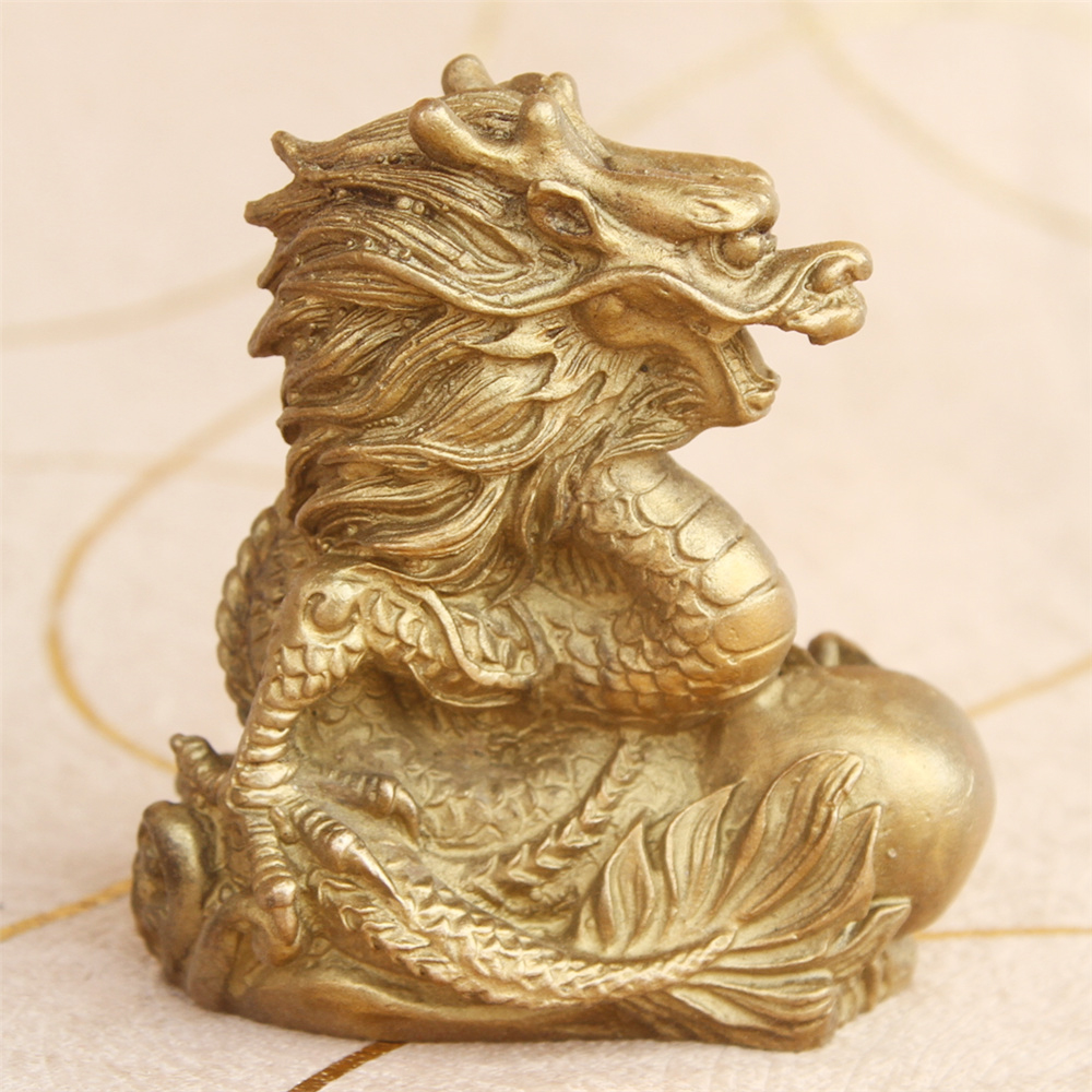 MOEHOMES China Fengshui Brass Dragon Wealth Lucky Statue Metal Crafts Home Decorations Gift Metal Handicraft