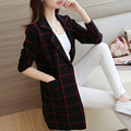 2016 Hitz Women Long Cardigans Korean Loose Suit Collar Knit Sweater Coat Female Plaid Knitted Cardigan Sweaters Women Jumpers