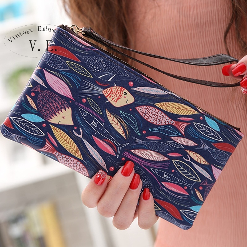 Vintage Embroidery Women Graffiti Wallet Organizer Long Leather Printing Vintage Purse For Girls Phone Bag Zipper Coin Bag