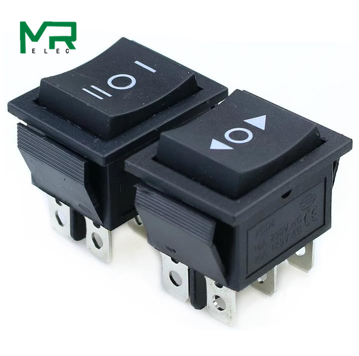 KCD4 1PCS Black Rocker Switch Power Switch ON-OFF-ON 3 Position 6 Pins No Lights  16A 250VAC/ 20A 125VAC(China)