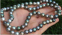 9 10 mm natural tahitian gray green multicolor pearl necklace 20 inch