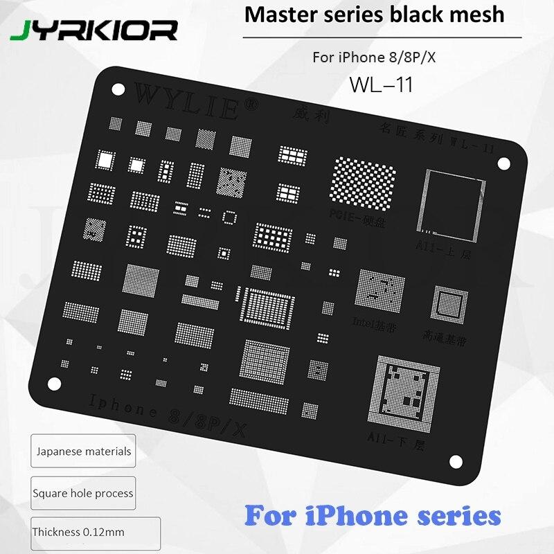 Jyrkior A7 A8 A9 A10 A11 A12 CPU Planting Tin Mesh BGA Reballing Black Stencil Template For IPhone 5/5c/5s 6/6s/7/8/X XS MAX XR