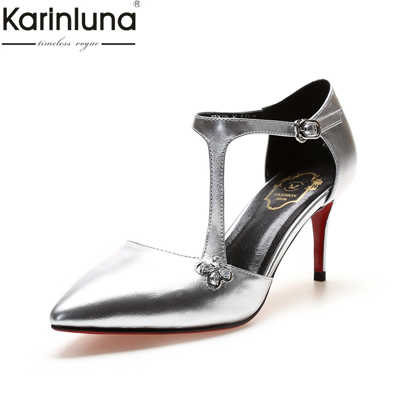 KarinLuna Ins Style Pointed Toe Buckles 2019 Brand New Genuine Leather Sexy Thin High Heels womens Stiletto womens ShoesKarinLuna Ins Style Pointed Toe Buckles 2019 Brand New Genuine Leather Sexy Thin High Heels womens Stiletto womens Shoes