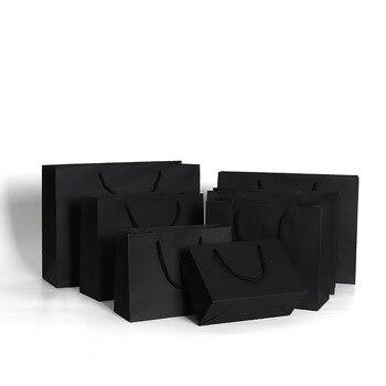 10 Uds bolsa de papel color negro con cuerda para la ropa de compras bolsa de regalo negra bolsa de embalaje de papel