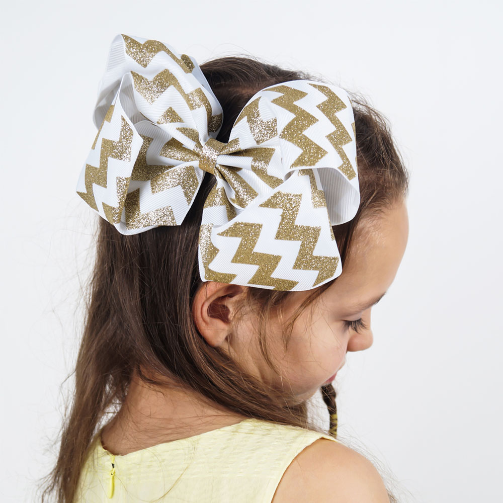 8 Inch Large Glitter Hair Bows for Girls Chevron Ribbon Barrette Hair Clips Kids Party Handmade Boutique Hair Accessories handmade gray faux leather hair barrette wood stick pin